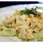 Салат из курицы с зеленым горошком или кукурузой