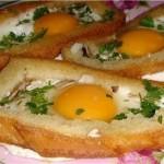 Горячие бутерброды (яичница в хлебе)