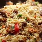 Рис со свининой и овощами.