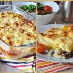 Сливочно — сырная запеканка с грибами и картофелем