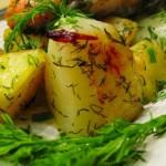 Семга запеченная с укропом и картофелем