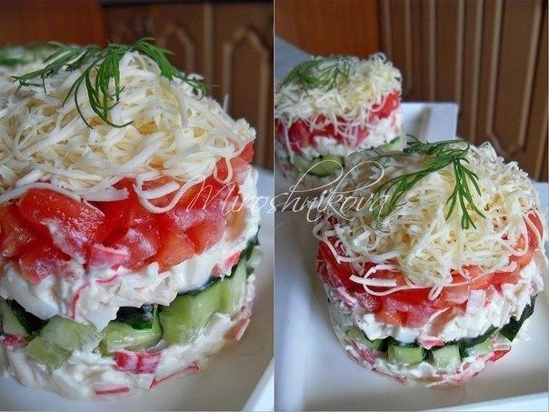 Безумный салат с крабовыми палочками пошаговый рецепт с фото